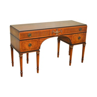 1930s Georgian Adams Style Crotch Walnut Vanity or Desk by Landstrom For Sale