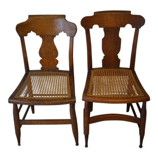 Antique Cane Seat Dining Chairs - a Pair For Sale