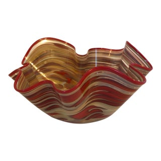 James Hayes Art Glass Ruffling Bowl For Sale
