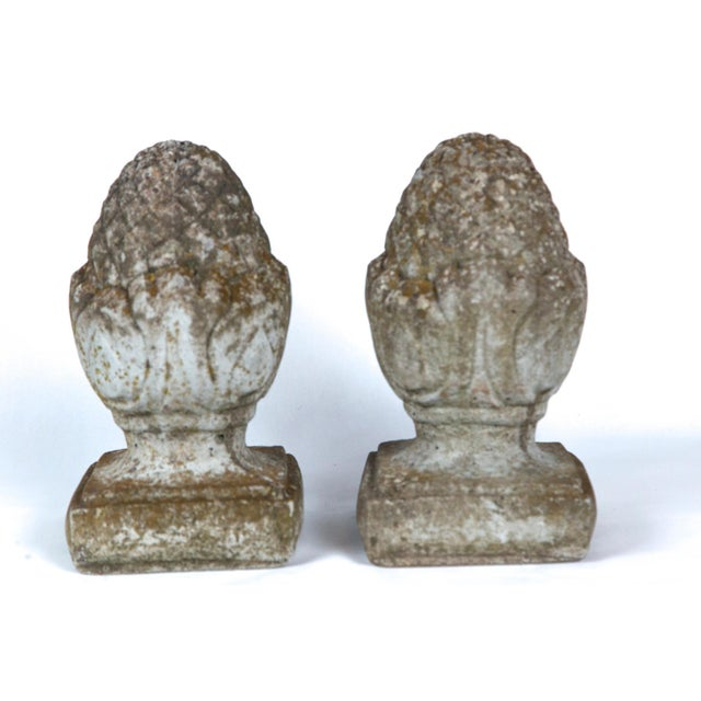 Early 20th Century Pair of English Cast Stone Finials, Circa 1920 For Sale - Image 5 of 11