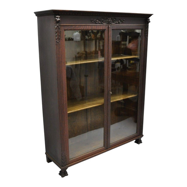 Victorian Oak Glass Two Door Bookcase With Claw Feet Lion For Sale