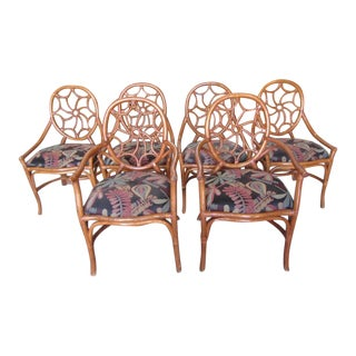 Vintage Rattan Spider Back Chairs - Set of 6 For Sale