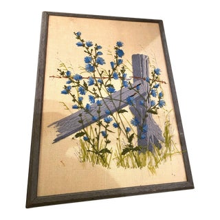Mid-Century Crewel Work Blue Flowers Framed For Sale