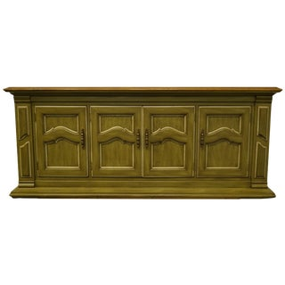 "Sligh Furniture Holland, MI Italian Neoclassical Green Painted 72"" Sideboard Buffet For Sale"