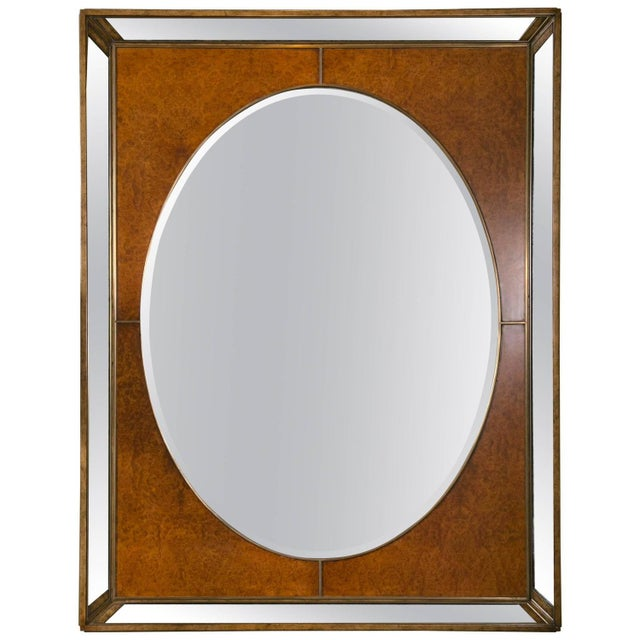 Burlwood Monumental Burl and Glass Art Deco Mirror For Sale - Image 7 of 7