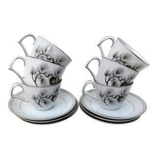 1950's Vintage Silver Pine Espresso Cups Set- 12 Pieces For Sale