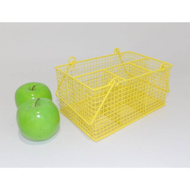Late 20th Century Electric Yellow Bathroom Toiletries Catchall Basket For Sale - Image 5 of 9