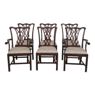 1990s Vintage Henkel Harris Model #107 Mahogany Dining Chairs- Set of 6 For Sale
