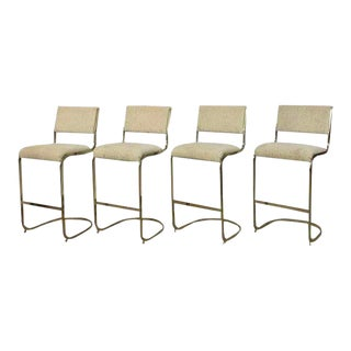 Brass Cantilever Barstools - Set of 4 For Sale