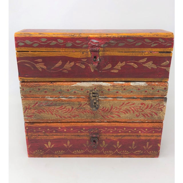 Wood Antique Indian Painted Wooden Boxes - Set of 3 For Sale - Image 7 of 7