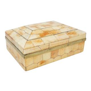 Inlaid Bone & Brass Box For Sale