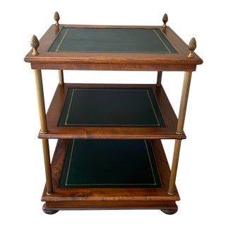Maitland - Smith 3-Tiered Square Wood, Leather, Brass Occasional Table For Sale