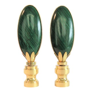 Tear Drop Malachite Polished Stone Finials in 14 Kt Gold by C. Damien Fox - a Pair. For Sale