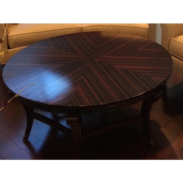 Herringbone Inlay Round Coffee Table - Image 2 of 4