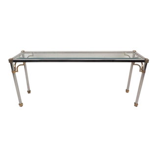 Maison Jansen Style Mid-Century Modern Chrome & Brass Console Table For Sale