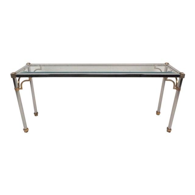Maison Jansen Style Mid-Century Modern Chrome & Brass Console Table For Sale