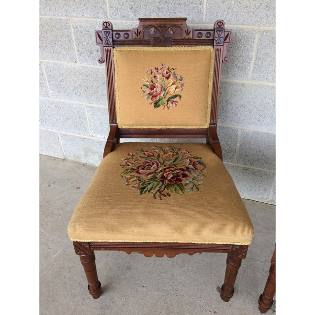 French Provincial Pair of Victorian Eastlake Needle Point His & Hers Accent Chairs For Sale - Image 3 of 11