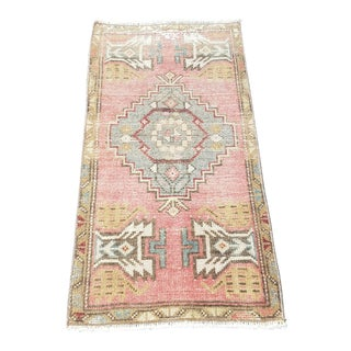 1970s Vintage Turkish Handmade Wool Rug -1'7″x3′1″ For Sale