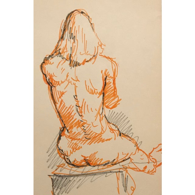 1970s Seated Male Nude Drawing For Sale