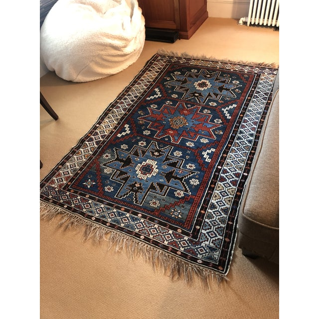 Antique Area Rug in Blues and Cranberry For Sale - Image 9 of 10