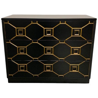 1970s Hollywood Regency Black and Gold Dresser For Sale
