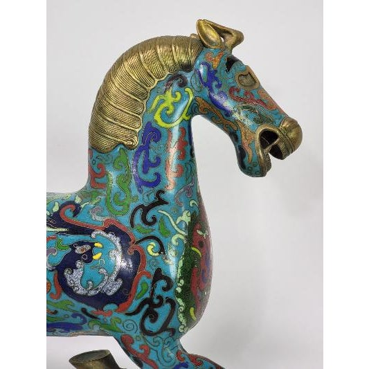 Chinese Cloisonne Enamel Gilt Success Horse Statue For Sale - Image 4 of 10