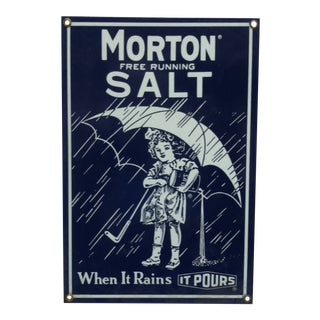 "1970 Morton Salt Porcelain Sign, ""When It Rains - It Pours"" For Sale"