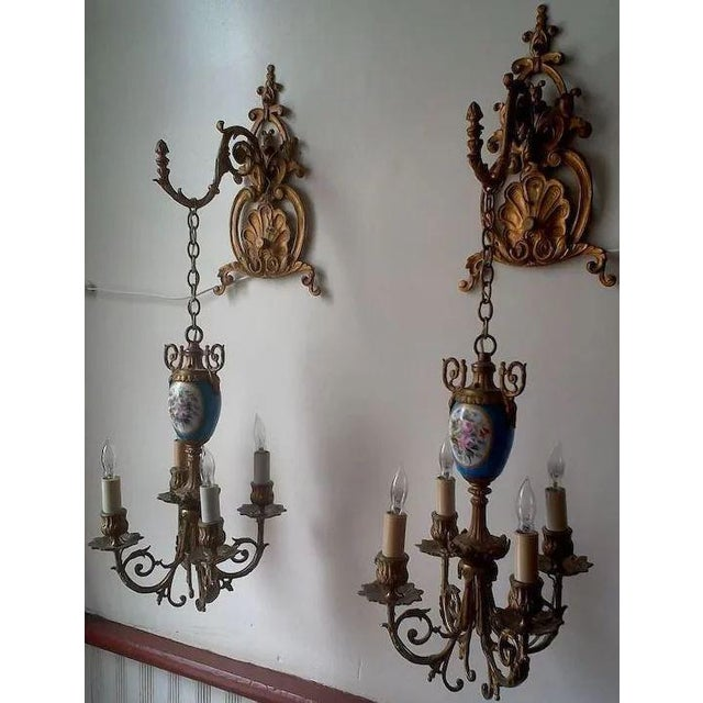 French Pair of Beautiful Floral Pendant Lights or Sconces For Sale - Image 3 of 10