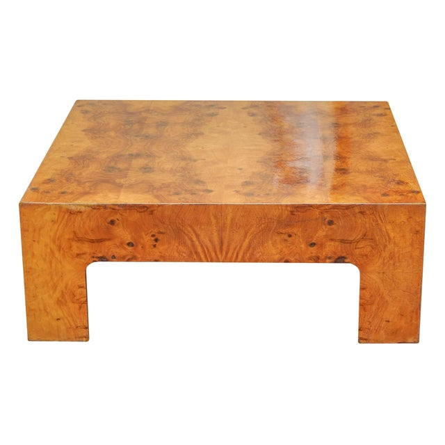 Large Square Bookmarked Burl Veneer Coffee Table For Sale - Image 4 of 11