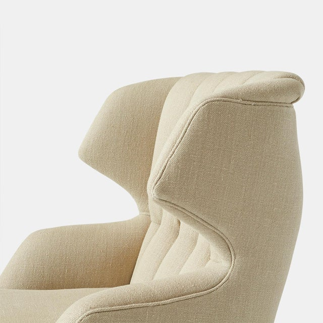 "Wood Pair of ""Janus"" Wing Chairs by Edward Wormley For Sale - Image 7 of 9"