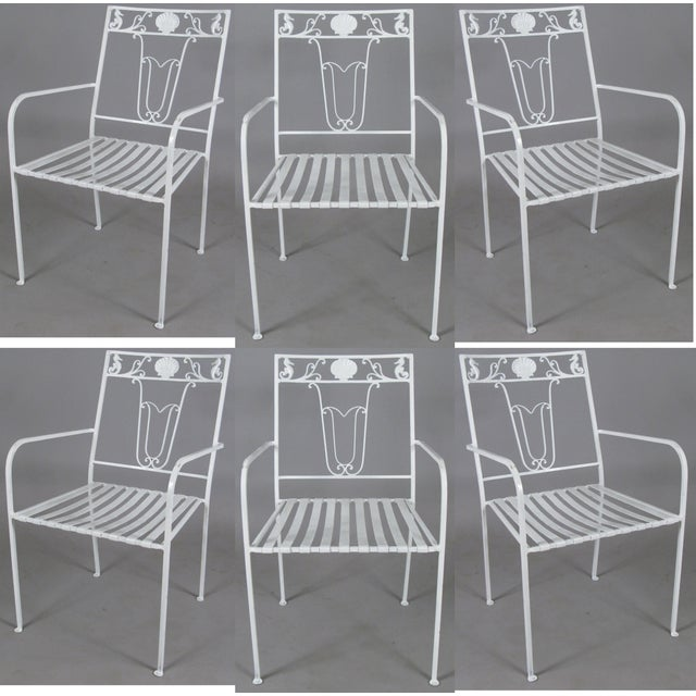 White 1950s Seashell & Seahorse White Patio Chairs - Set of 6 For Sale - Image 8 of 8