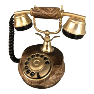 Italian Mid Century Marble Dial Phone For Sale