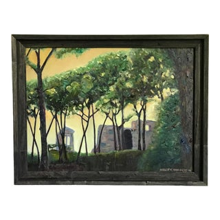 Italian Woods Original Signed & Framed Oil Painting For Sale