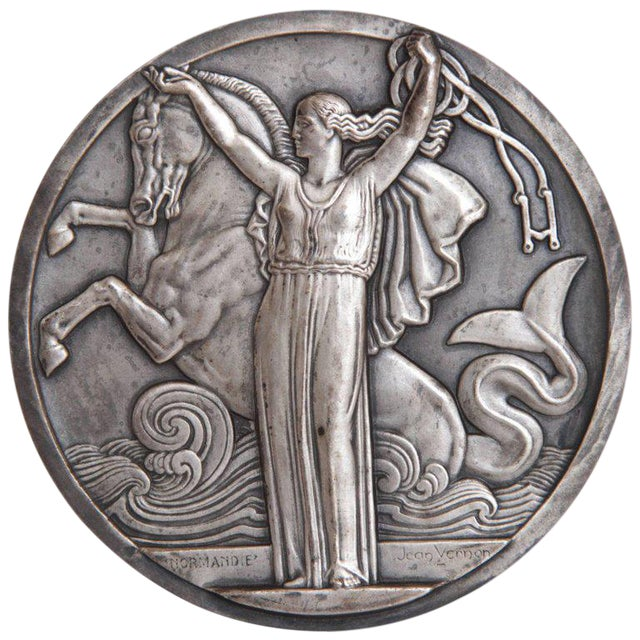 Art Deco French Normandie Medallion by Jean Vernon Silvered Bronze For Sale