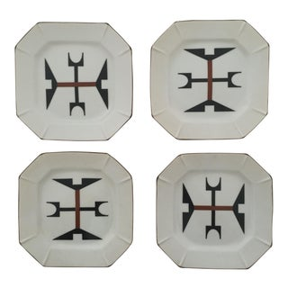 Vintage Mid Century Modernist Japanese Graphic Ceramic Dessert Plates - Set of 4 For Sale