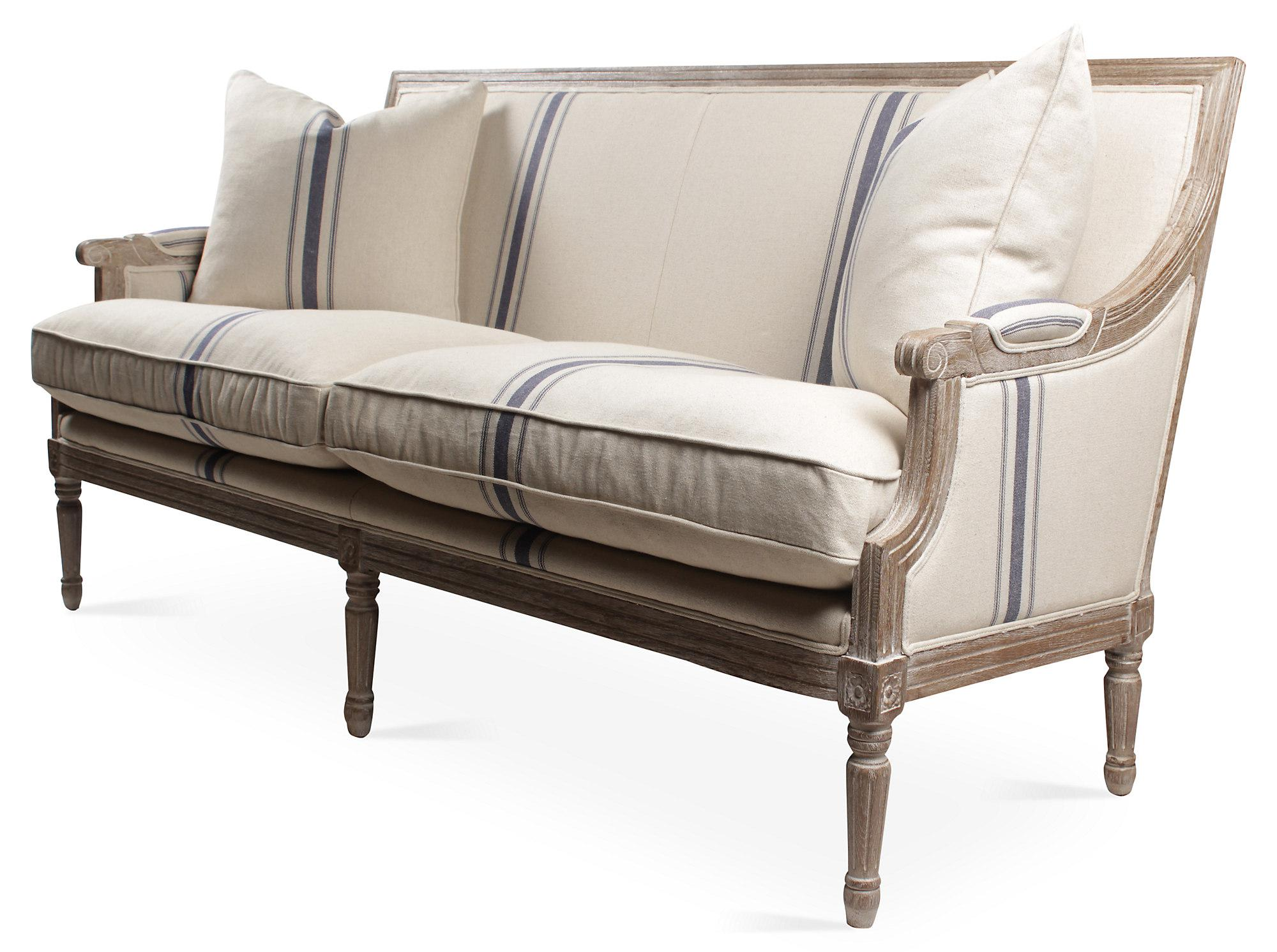 Louis XVI French Linen Sofa, Navy Stripe   Image 2 Of 5