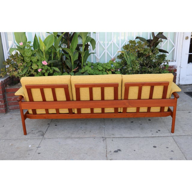 Mid Century Modern Mustard Sofa For Sale - Image 9 of 11