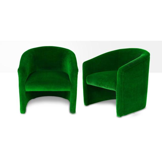 Art Deco Vintage Emerald Velvet Upholstered Barrel Tub Chairs - a Pair For Sale - Image 3 of 3
