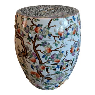 1980s Chinese Bird and Floral Porcelain Garden Stool For Sale