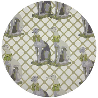 """Nicolette Mayer Regal Greyhound Gold 16"""" Round Pebble Placemats, Set of 4 For Sale"""