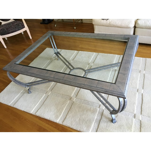 Metal Finish Glass Cocktail Table - Image 2 of 8