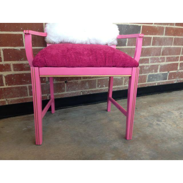 1950s Vintage Art Deco Hot Pink Vanity Chair For Sale - Image 4 of 8