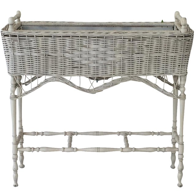 Antique White-Painted Wicker & Wood Planter - Image 1 of 9