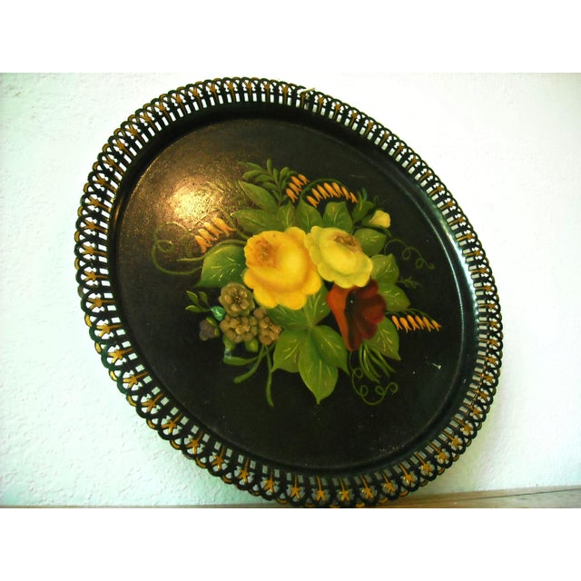 Antique Round Floral Tole Tray - Image 3 of 4