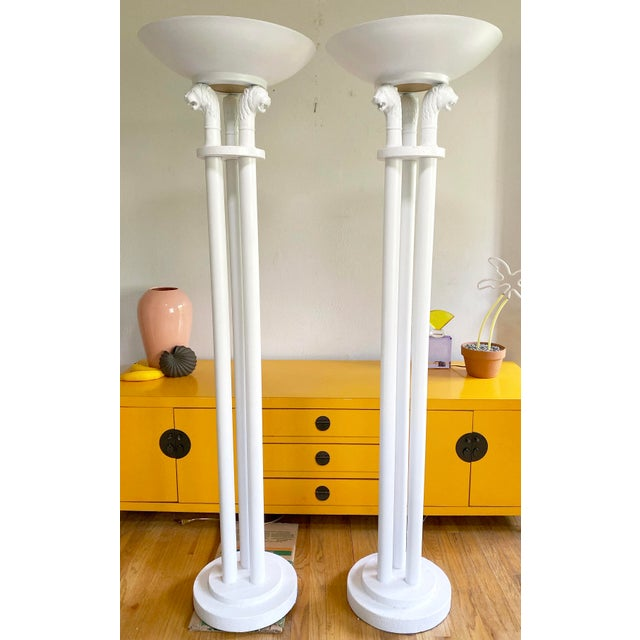 Neoclassical Triple Lion Head Torchiere Floor Lamps -A Pair For Sale - Image 9 of 9