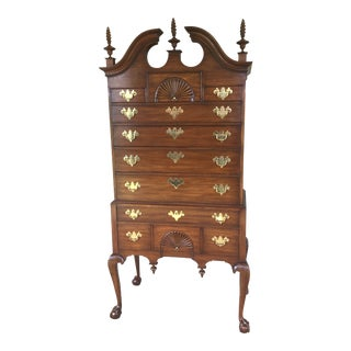 Henkel Harris Mahogany (Spnea) Chippendale Style Highboy - 2 Pieces For Sale