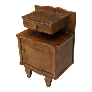 1930s French Art Deco Floating Drawer Marquetry Bedside Cabinet For Sale