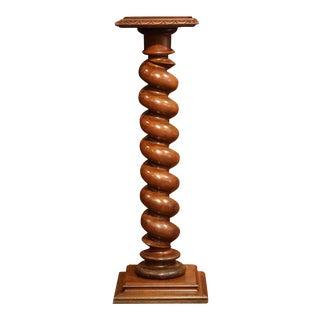 19th Century French Carved Walnut Barley Twist Pedestal For Sale