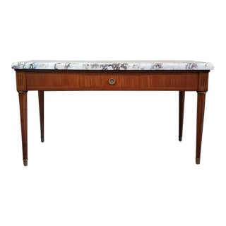 Louis XVI Style Inlaid Mahogany Calacatta Marble-Top Coffee Table For Sale
