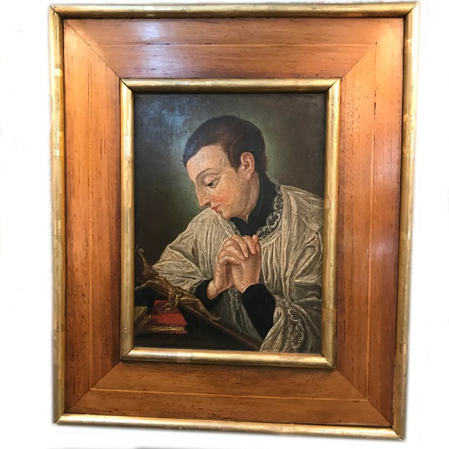19th Century European Icon Painting on Copper, Framed For Sale - Image 4 of 4